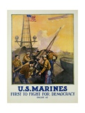 US Marines - First to Fight for Democracy Recruiting Poster