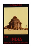 See India - Bengal Nagpur Railways  Konaruk  the Black Pagoda Poster