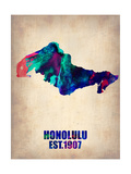 Honolulu Watercolor Map