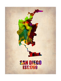 San Diego Watercolor Map