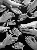1950s Montage of Many Man and Woman Hands Clapping