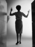 1960s Silhouette Woman Arms Held Up Mysterious Shadow Light