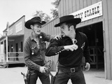 1950s-1960s Cowboy Sheriff Marshall Nabs Arrest Gunfighter Outlaw Near Livery Stable