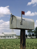 Rural Delivery Us Mail Mailbox with Red Flag Up