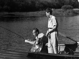 1930s Man Father Teenage Boy Son Dog in Row Boat Fishing in Pond