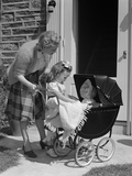 1940s Mother and Daughter with Doll in Stroller