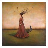 Empty Nest Invocation - L'invocation du nid abandonné : femme au paon Reproduction d'art par Duy Huynh