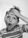 1950s-1960s Boy Hand to Forehead Funny Surprised Overwhelmed Expression