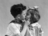 1930s Two Children Young Boy and Girl Kissing