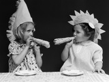 1930s Two Little Girls with Noise Makers Wearing Paper Party Hats