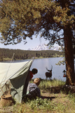 1950s Grand Teton National Park Wyoming Two Children in Tent Looking at Deer by Lake