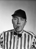 1950s Football Referee Blowing Whistle