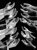 1960s Multiple Exposure Montage Male Hands Begging for a Hand Out
