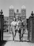 College Aged Student Couple Walking Through Campus Gates University of Pennsylvania