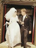 Bride Groom Leave Church Throwing Rice
