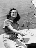 1940s Woman Sailor Sailing Boat Outdoor