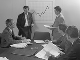 5 Executive Businessmen Meeting with Sales Chart Graphic