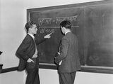 2 Students Professors Mathematicians Blackboard Studying Complex Equations