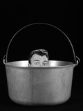1950s-1960s Symbolic Montage Portrait Man in the Soup Looking Wide Eyed from Inside the Kettle