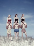 1950s 3 Teen Couples Standing on Sand Dune Girls Sitting on Guys Shoulders