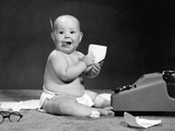 1960s Eager Baby Accountant Working at Adding Machine