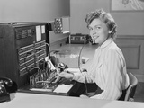 Smiling Woman Office Telephone Switchboard Operator