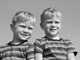 1950s Portrait Two Twin Blond Boys Smiling Wearing Striped Tee Shirts Brothers