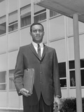 African-American Businessman Holding Briefcase Outdoors