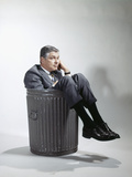 Sad Man in Business Suit Sitting in Trash Garbage Can