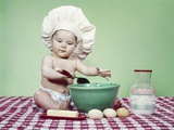 1960s Baby Wearing Chef Hat Spoon Mixing Bowl and Baking Ingredients