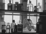 Man Scientist Conducting Experiment Test Tube Liquids