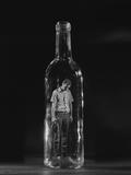 Sad Man Trapped Inside Bottle