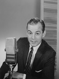 Man Speaking into Microphone Radio TV Announcer Broadcaster