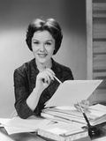 Portrait Smiling Executive Woman Holding Files Papers