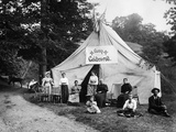 1890s-1900s Group Seated in Front of Large Tent with Sign Reading Camp Golden-Rod