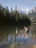 1970s Man Fisherman Red Shirt in Rocky Mountains Stream Lake Fly Rod Catch Splashing on Line Net