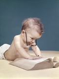 1960s Funny Baby Wearing Oversized Glasses Reading Big Book