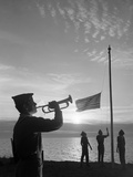 1960s Boy Scouts at Camp Sunset Lower American Flag Bugle Taps 4 Boys Uniform Silhouetted