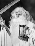1950s Costume Elderly Man Long Beard Angel of Death Sickle Scythe Hourglass Father Time