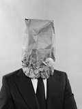 Man Business Suit Paper Bag over His Head