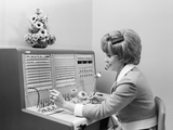 1970s Receptionist Working Answering Office Telephone Switchboard Wearing Headset
