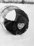 1920s Boy Playing Lying in Snow Rolling in Wooden Barrel