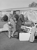Senior Man Woman Husband Wife Packing Trunk with Luggage