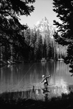 1960s Man Fishing Holding Net and Rod Wyoming Grand Teton National Park String Lake
