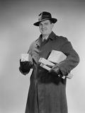 Man Wearing Winter Coat Hat Gloves Holding Packages Parcels