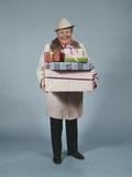 Smiling Man Hat Coat Carrying Wrapped Christmas Presents