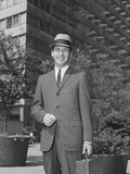 Portrait Businessman Wearing Hat Suit Holding Briefcase