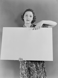 Woman Holding Blank Poster Sign Hand Pointing from Top