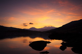 Snow-Capped Snowdon Mountain Range Viewed at Sunset over Llynnau Mymbyr