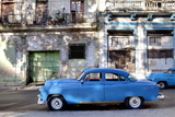 Blue Vintage American Car Parked on a Street in Havana Centro